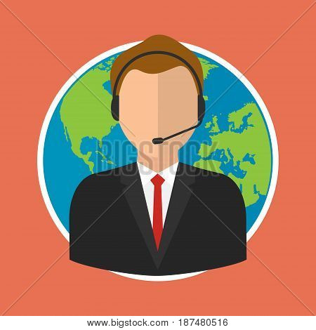 Online customer support center operator service on world globe background. Vector illustration flat style online business concept.