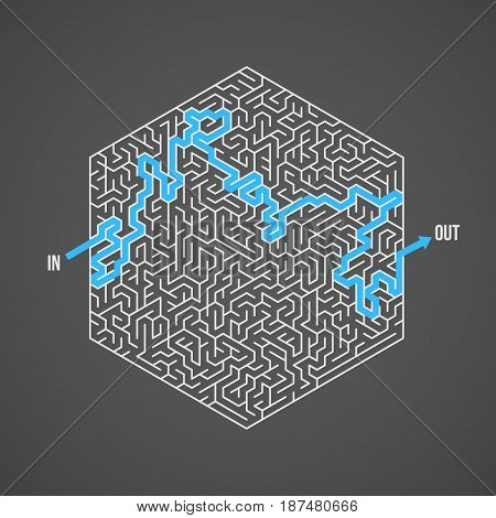 Illustration of Vector Maze. Greek Puzzle Challenge with Solution. Maze with Way In and Out