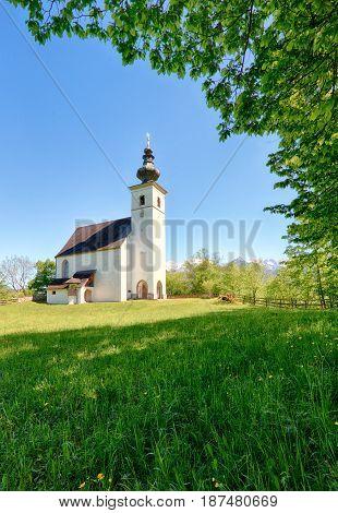 Austria Alps church in a village Golling