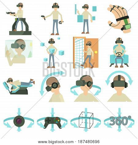 Virtual reality icons set. Cartoon illustration of 16 virtual reality vector icons for web