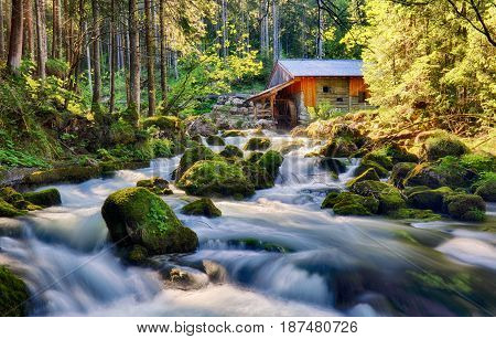 Beauty landscape with river and forest in Austria Golling