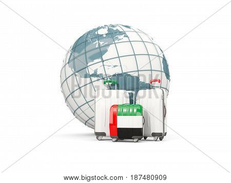 Luggage With Flag Of United Arab Emirates. Three Bags In Front Of Globe