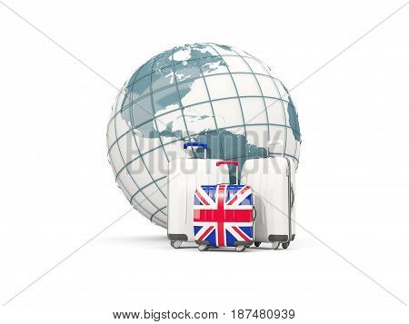 Luggage With Flag Of United Kingdom. Three Bags In Front Of Globe