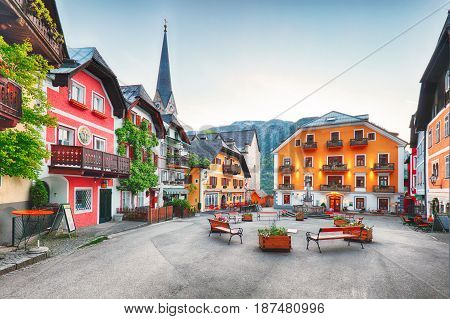 Hallstatt square in a Austria Alps mountain