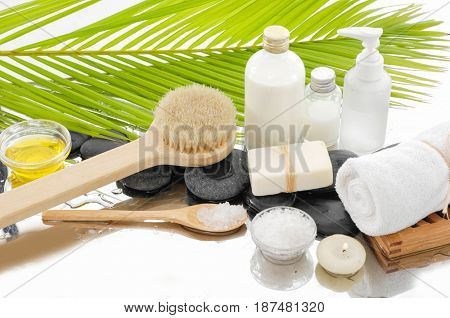 Spa Background with green palm ,salt in spoon with spa set