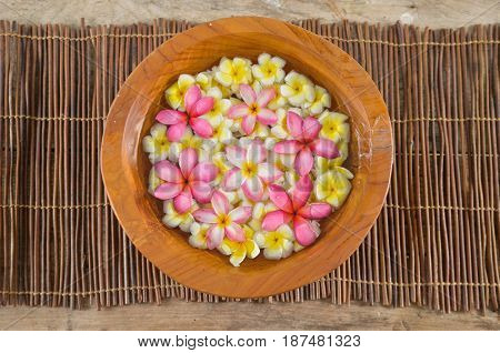 many colorful frangipani in water wooden bowl on mat