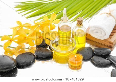 Spa Background with stones, towel with spa set