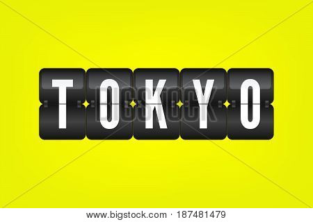 Tokyo flip symbol. Japan capital vector scoreboard. Black and white airport sign on yellow background. Japanese city illustration
