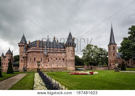 Haarzuilens Netherlands - August 4 2016: De Haar Castle located near Utrecht. It is the biggest and most luxurious castle in The Netherlands