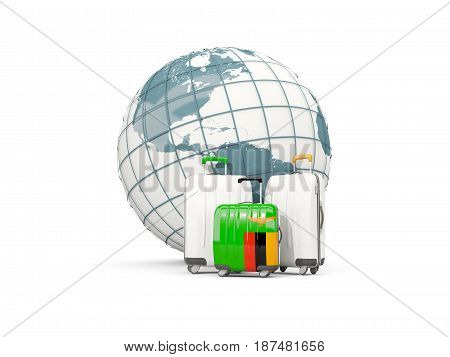 Luggage With Flag Of Zambia. Three Bags In Front Of Globe