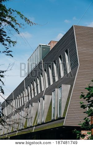 Utrecht Netherlands - August 4 2016: Modern architecture building in historic centre of Utrecht. Ancient city centre features many buildings and structures several dating as far back as the High Middle Ages.