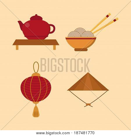 Chinese objects asian oriental decoration and objects sightseeing festival gold ancient traditional culture lanterns vector illustration. Celebration antique vintage china asian symbols.