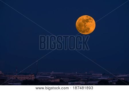 The big full moon in blue twilight sky.