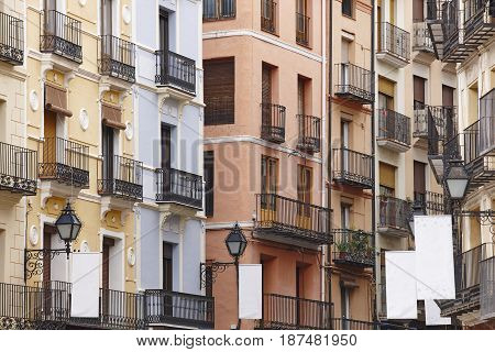 Classic street facades in Teruel. Spain architecture. Tourism background