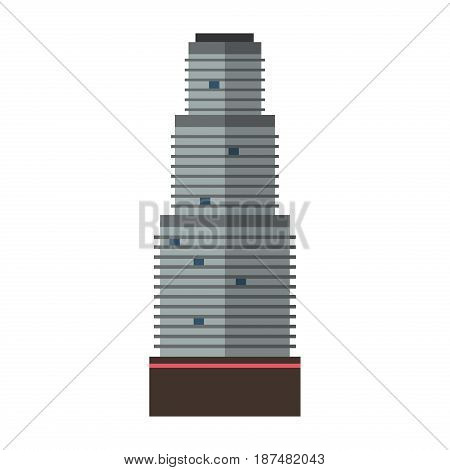 Downtown skyscraper with skyline reflections on shiny glass facades modern flat style vector illustration Construction abstract street cityscape exterior isolated on white background.