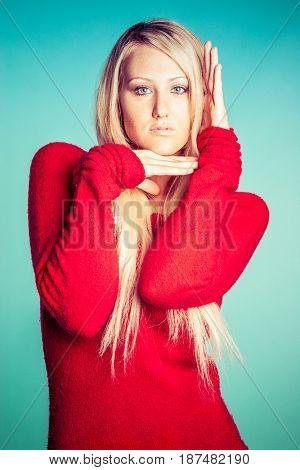 Beautiful blonde fashion model posing