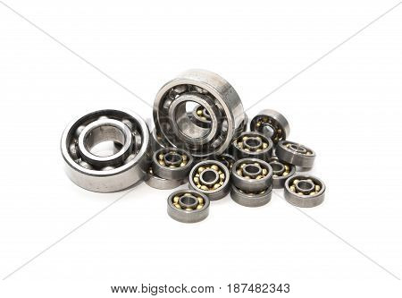 Industrial concept. Set of various ball bearings on white background