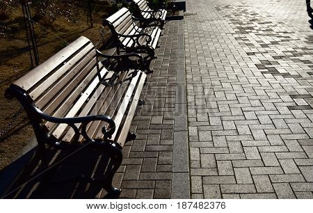 A sight of a park bench lit by sunset