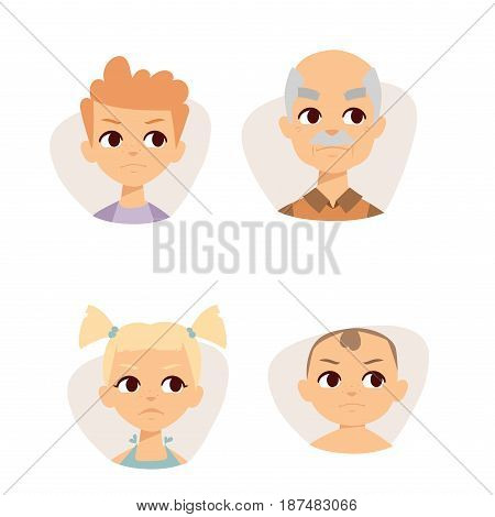 Vector set sad emoticons face of people fear shock surprise avatars. Set of cartoon human head person character different sexes sadness confused depression.