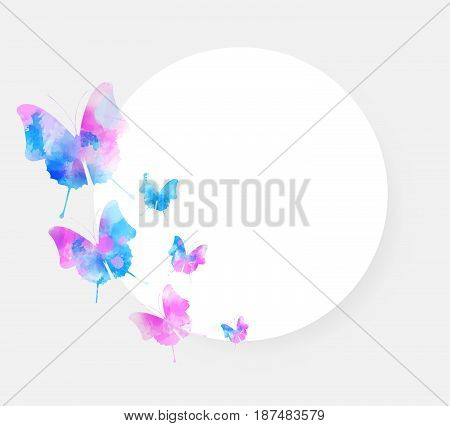 Round background with beautiful watercolored butterflies and copyspace. Vector illustration.