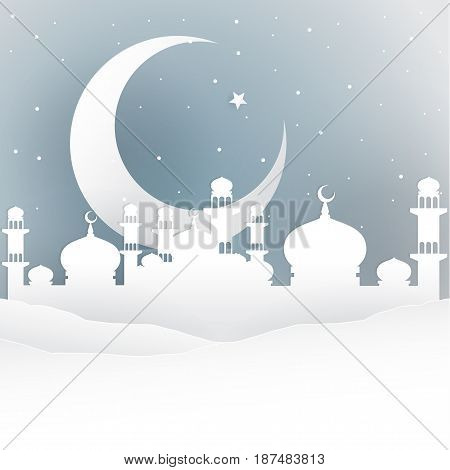 Arabian nights with big crescent moon in white paper cutting style. Idea for Ramadan Kareem greeting. Vector Illustration.