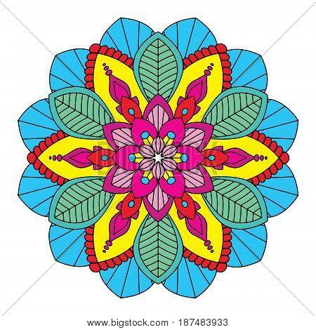 Colorful mandala vector illustration. Floral ornament, oriental pattern, vintage decorative element. Islam, Arabic, Indian, moroccan, turkish ottoman motifs.