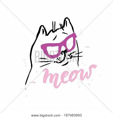 cat cute in glasses illustration T-shirt Graphics Hand drawn lettering Meow