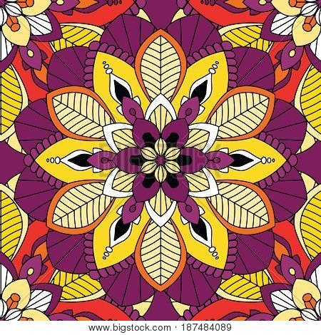 Mandalas pattern, floral elements, decorative ornament. Repeat pattern background. Arab, Asian, ottoman motifs. Colorful flowers. Vector illustration