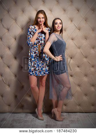 Two young women on studio