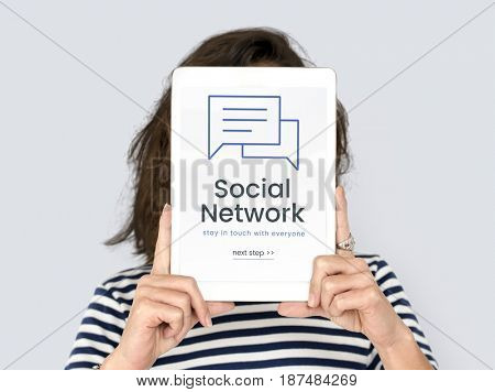 Woman working on network graphic overlay digital device covering face
