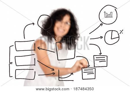 Portrait of beautiful woman drawing bussiness plan on virtual screen. Bussiness concept concept. Isolated white background.