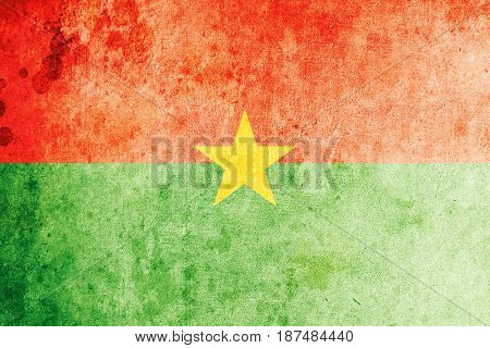 Burkina Faso flag grunge background. Background for design in country flag