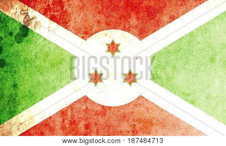 Burundi flag grunge background. Background for design in country flag