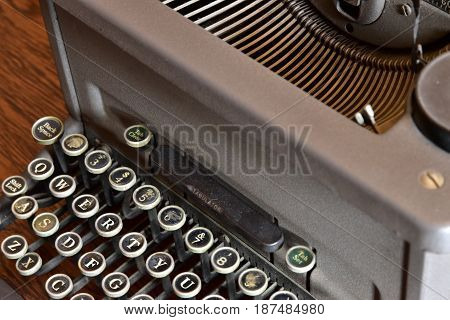 A view of the old typewriter keyboard
