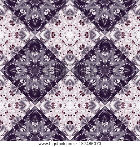 Two-tone seamless pattern with floral circle and square ornament. You can use it for invitations notebook covers phone case postcards cards ceramics carpets. Artwork for creative design.