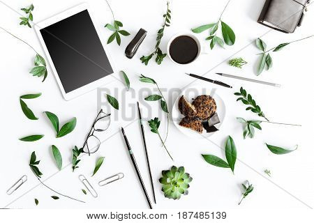 Top View Of Digital Tablet, Cookies And Office Supplies Isolated On White, Wireless Communication Co