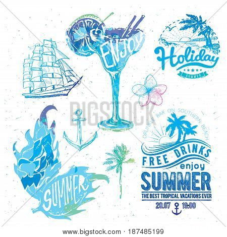 Vintage watercolor summer typography design with labels, icons elements collection