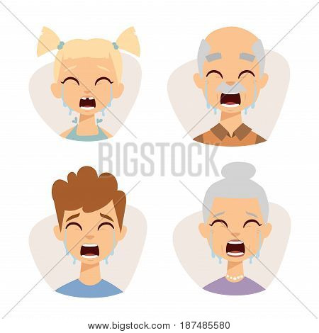 Vector set crying emoticons face of people fear shock surprise avatars. Set of cartoon human head person character different sexes sadness confused depression.