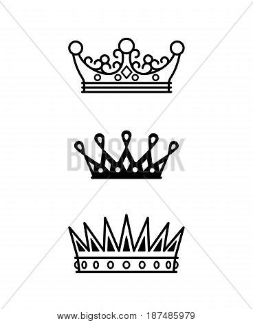 Crowns black line icons collection on white background. Vector illustration