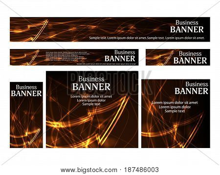 Set business web banners templates standard size. Design concept with abstract glowing arrow for website. Vector illustration.