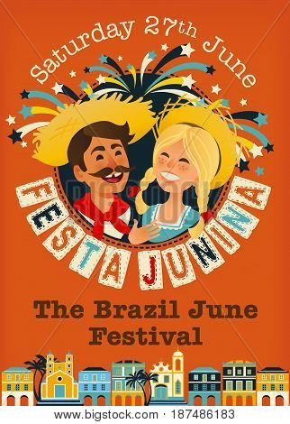 Festa Junina Brazil June Festival banner. Folklore Holiday. Characters. Vector Illustration.
