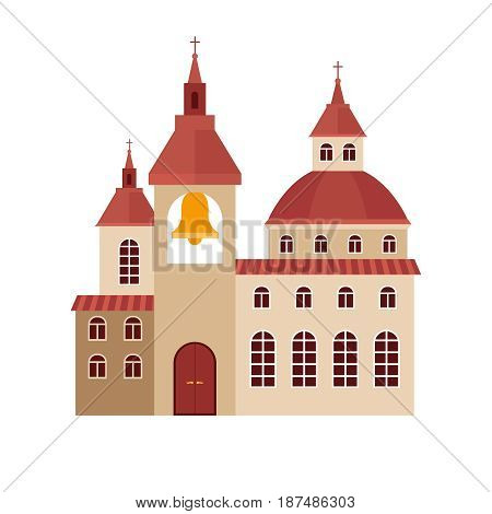 Chirch building flat colorful icon on white background. Vector illustration