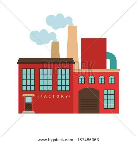 Red factory building icon isotated on white background. Vector illustration