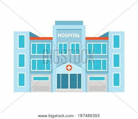 Hospital flat building icon on white backdrop. Vector illustration