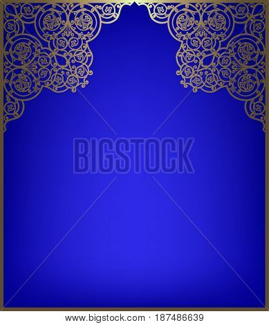 Gold frame with oriental style for wedding or greeting cards