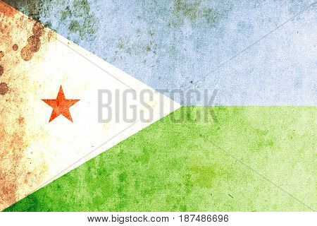 Djibouti flag grunge background. Background for design in country flag