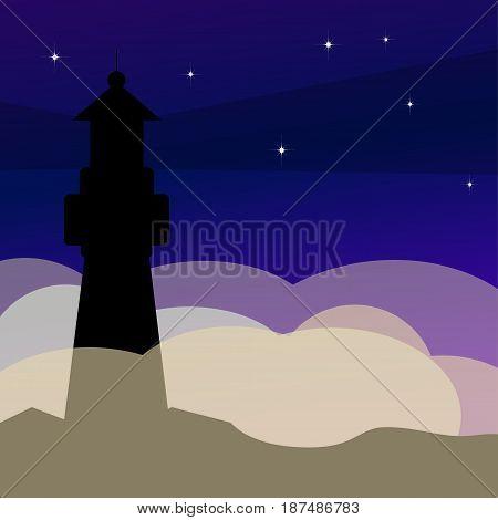 Lighthouse on ocean or sea beach cartoon background vector illustration. Lighthouse on coast of sea