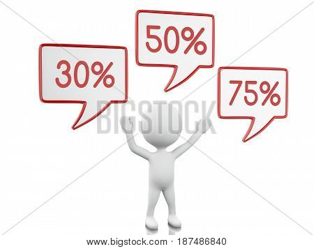 3d illustration. White person and speech bubble with discount. Shop and sale concept. Isolated white background.