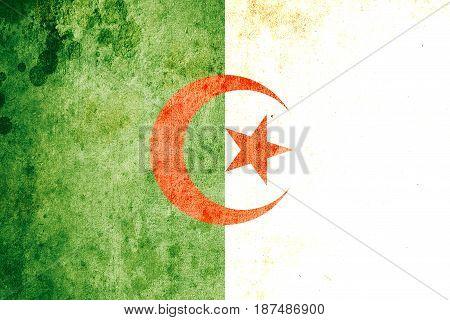 Algeria flag grunge background. Background for design in country flag