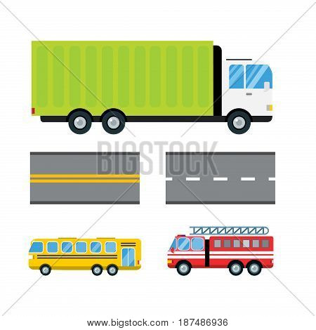 Fire truck car cartoon delivery transport cargo bus logistic isolated vector illustration. Mobile fast emergency service fast moving emergency commercial automobile.